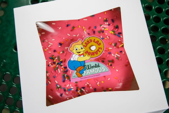 Big Pink Donut from Lard Lad Donuts, offered in Springfield, U.S.A.