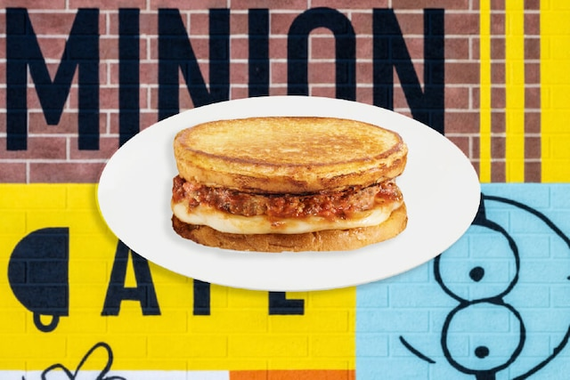 Meatball Grilled Cheese Sandwich, offered in the all-new Minion Cafe.