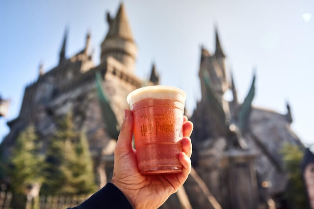 Hot Butterbeer™ offered at Butterbeer™ Cart in The Wizarding World of Harry Potter™.